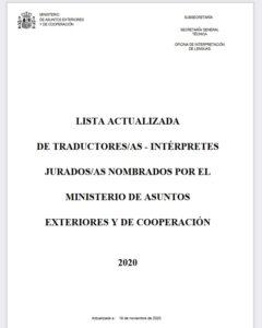 listado oficial de traductores de España